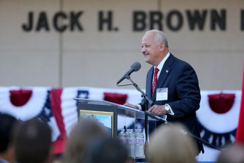 Tom‡s D. Morales, President, California State University, San Bernardino -- Jack H. Brown College of Business and Public Administration Naming Ribbon Cutting Ceremony at California State University, San Bernardino on Thursday, October 5, 2017. (Photo by Robert A. Whitehead/CSUSB)